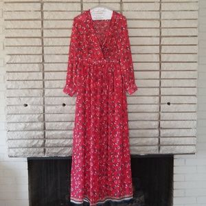 Suncoo Red Maxi dress with floral print size 2